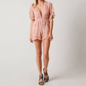 Honey Punch Blush Colored Plunge Front Lace Romper